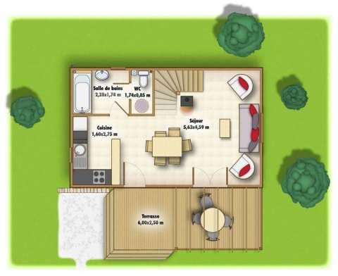 Chalet 2 chambres : rez de chaussée